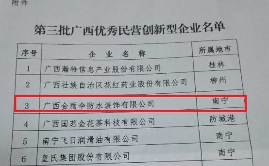 【企业荣誉】金雨伞被认定为广西优秀民营创新企业